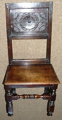 Charles II Hall Chair Oak with Carved Roundel Back Panel Circa 1675 chco