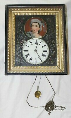 Unusual Old Antique REVERSE PAINTED Lady PORTRAIT Weight Driven WALL CLOCK