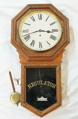 Old Antique Oak WATERBURY REGULATOR 8 Day WALL CLOCK w/ Key & Pendulum RUNS
