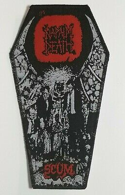 Napalm Death  Scum  Black Border Red Logo  WOVEN PATCH