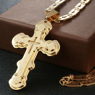 Stainless Steel Gold Jesus CROSS Pendant Long Chain Necklace Men's Lock Chic