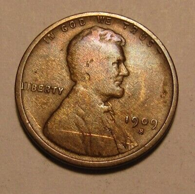 1909 S Lincoln Cent Penny - Very Good to Fine Condition / Scratch - 117SA