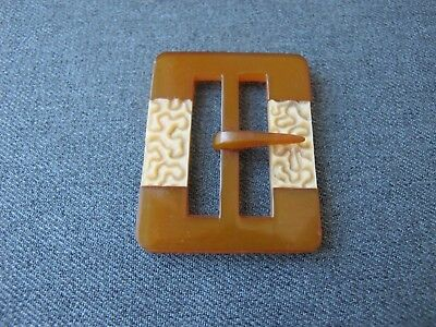 Antique Czech flapper beige inlaid applejuice galalith belt buckle unused #11