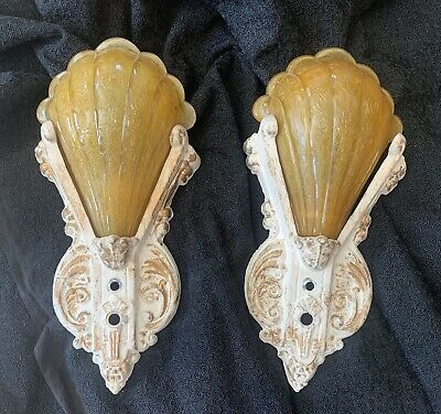 Pair (2) of Art Deco 1920's Modernistic Wall Sconce w Slip Shade Light Fixtures