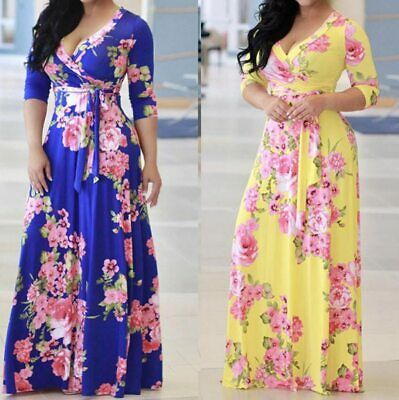 2019 New Autumn Fashion Brand Clothes Women Floral Boho Long Maxi Evening Dress