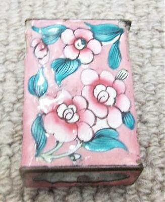 Antique Chinese Cloisonne Match Box Cover Holder c1900