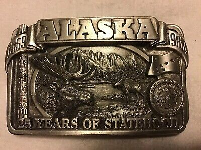 Alaska Moose 25 Years Of Statehood State Seal Siskiyou Vintage Belt Buckle 1983