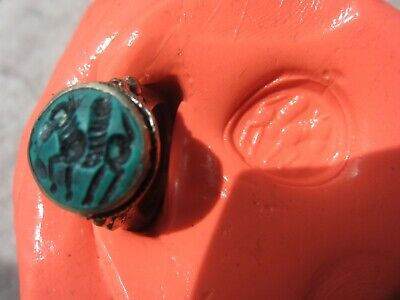 AUTHENTIC MEDIEVAL SILVER RING - with SEAL of PEGASUS- WEARABLE 1000 YEAR OLD