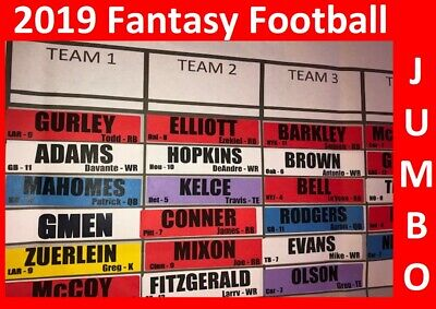 2019 Fantasy Football Draft Kit 5 X 3 Board 4 X 1 Jumbo COLOR Labels Rookies