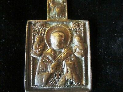 AUTHENTIC MEDIEVAL BRONZE CHRISTIAN PENDANT with SAINTS - approx. 700 years old