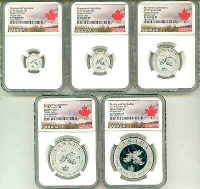 2019 Canada $1 $2 $3 $4 $5 Set Bicentennial Queen Victoria Maple Leaf PF70 OGP