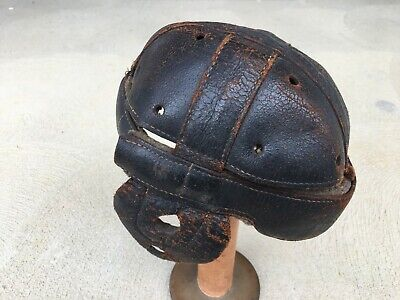 VERY RARE ANTIQUE VINTAGE 1920s,1930s DOG EAR FULL SIZE LEATHER FOOTBALL HELMET