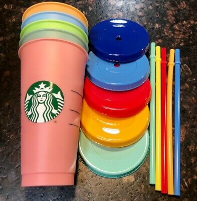 Starbucks Reusable COLOR CHANGING Cold Cup Collection Pack Of 5 Lids Straws 24oz