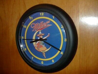 Miller High Life GirlonMoon Beer Bar Man Cave Advertising Black Wall Clock Sign