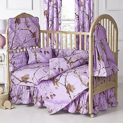 Realtree Lavender Purple Camo Baby Crib Skirt, Camouflage Dust Ruffle