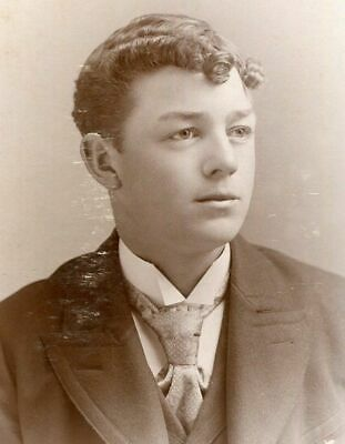 Antique Cabinet Photo Very Handsome Curly Haired Young Victorian Man Durand Wi