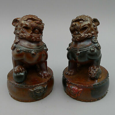 1Pair Natural Old Cinnabar Exorcise Evil Spirits Hand Carved Lions Statue Decor