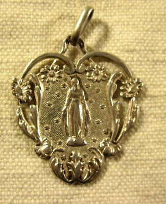 ANCIENNE belle MEDAILLE RELIGIEUSE ARGENT MASSIF, Vierge   (N°15 ) ca 1900