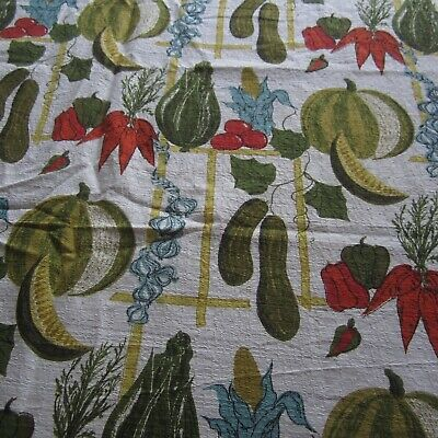 Vegetables & Bamboo Vintage Cotton Barkcloth Fabric Kitschy Kitchen 1950s
