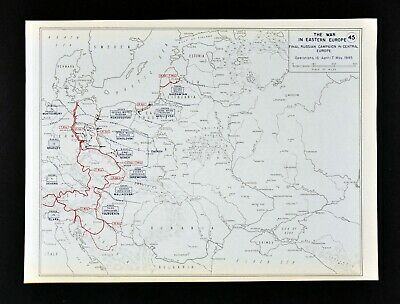West Point WWII Map Russian Campaign Poland Germany Russia Eastern Europe 1945