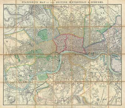 1861 Stanford Pocket Map of London, England