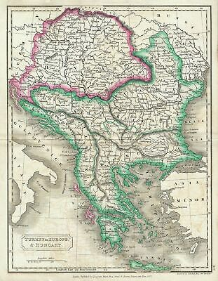 1822 Butler Map of European Turkey and Hungary