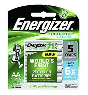 Energizer Rechargeable AA Batteries 4 Pack BRAND NEW FREE SHIPPING