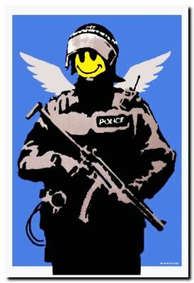 "BANKSY FLYING COPPER ANGEL A2 CANVAS PRINT Graffiti Art poster 16""X 24"""