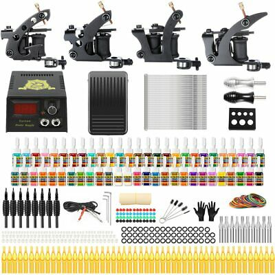 Complete 4 Rotary Tattoo Machine Shader Liner Kit 54 Color Inks Set Power Supply