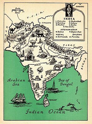 1946 Antique Animated Map of INDIA and AFGHANISTAN Rare Picture Cartoon Map 6623