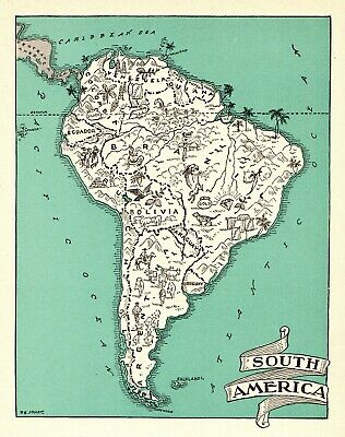 1942 Antique Animated SOUTH AMERICA Picture Map Vintage Pictorial Map 6629