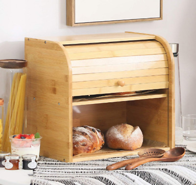 Natural Wooden Roll Top Bread Box Kitchen Food Storage (2- Layer Self-assembly)