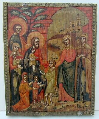 RUSSIAN ORTHODOX ICON of CHRIST BLESSING CHILDREN 19th CENTURY antique RARE