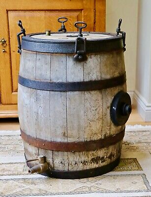 Large coopered oak butter churn barrel - table conversion project? Display ?