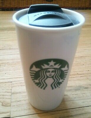 STARBUCKS 2015 Tall Ceramic Double Wall Travel Tumbler 12 oz Mug Cup With Lid
