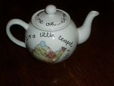 "Chown China Illustrated Teapot Based On Design By Poppy Treffry 6"" Tall 9"" Long"