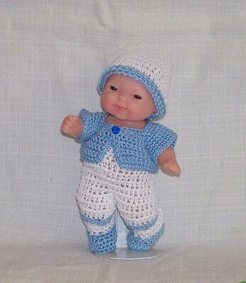 """Hand Crochet 5"""" Berenguer My Sweet Love Mini Baby Doll Clothes BOY Outfit 5 Pc."""