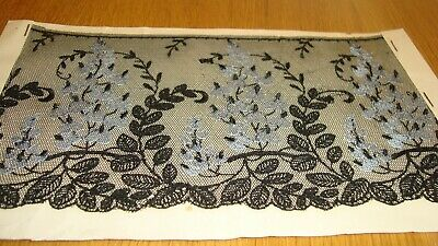 Sample Piece of  Black Vintage / Antique  French Lace  -  embroidered flowers b