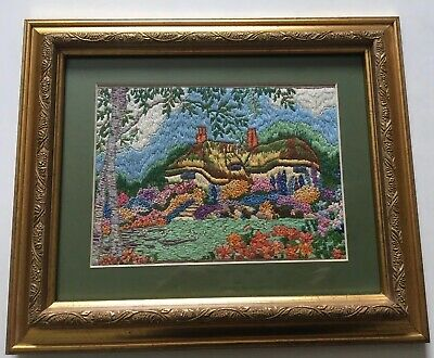 Pretty Vintage Hand Embroidered Picture English Cottage + Country Garden Framed