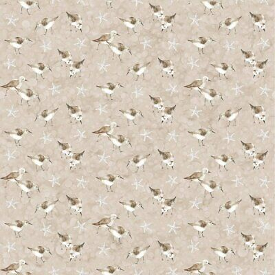 White Sands Tan Sandpipers Cotton Quilt Sewing Fabric DP 22709-12 Northcott BTHY