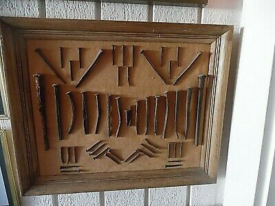 Antique Framed Display 51 Square Head Barn Nails & Railroad Spikes