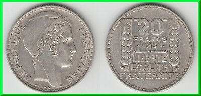 **** 20 Francs 1936 Turin - Argent - Silver ****