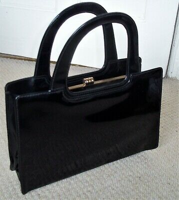 EXQUISITE VINTAGE/RETRO 1960's BLACK FAUX LEATHER/VINYL BOXY HANDBAG/CLASP BAG
