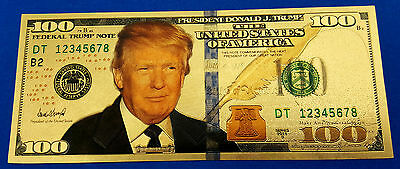 Donald Trump Gold Bank Note Dollar Bill 4th July 1776 President Leader Legend US
