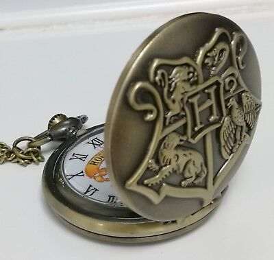 Harry Potter Hogwarts Crest Pocket Watch Fob Pendant Magic Spells Fantasy School