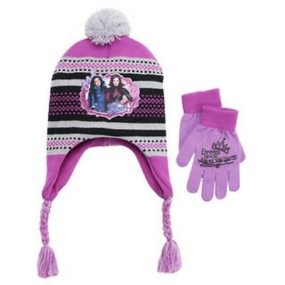 half off 5cabe 2f99e Disney s Descendants Mal Girls 4-16 Pom-Pom Earflap Hat   Gloves Set One