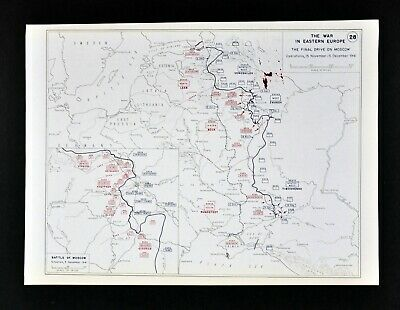 West Point WWII Map German Campaign Battle of Moscow Leningrad Tula Nov-Dec 1941