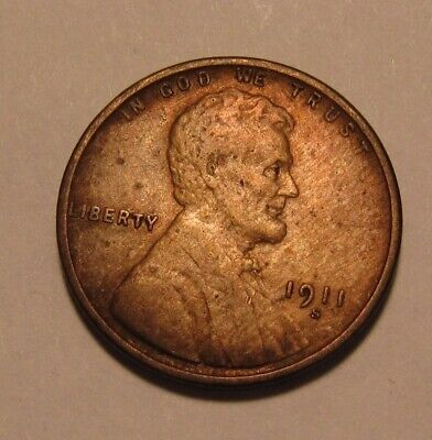 1911 S Lincoln Cent Penny - Extra Fine Condition / Old Cleaning - 3SU