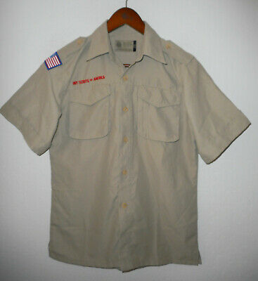 BOY SCOUTS Of America UNIFORM Shirt BSA VENTED Khaki Scout YOUTH Boys LARGE Lg