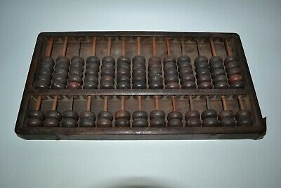 Rare Old Vtg Antique Chinese Abacus Solid Rosewood Back 13 Rods 91 Bead Label